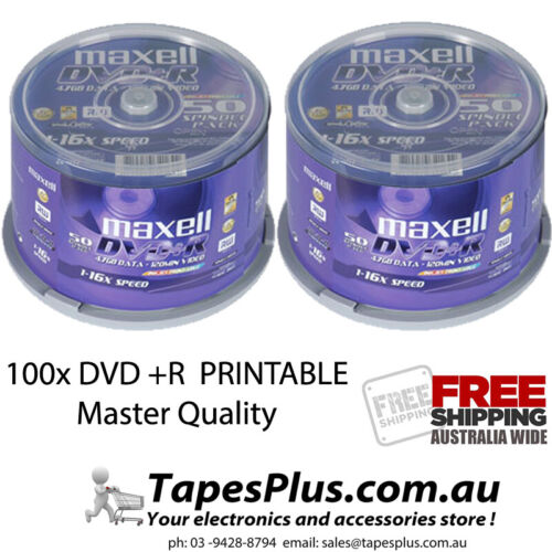 100 pack maxell Gold Series DVD-R 4.7Gb 16X Blank Recordable Discs Spindle 25x4