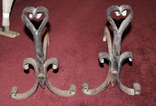 Antique Wrought Iron Andirons-Pair-Heart Shape Top-Lovely Curves-LQQK
