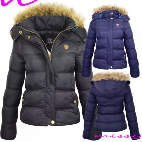 NEW WOMENS LADIES QUILTED WINTER COAT PUFFER FUR COLLAR HOODED JACKET PARKA SIZE