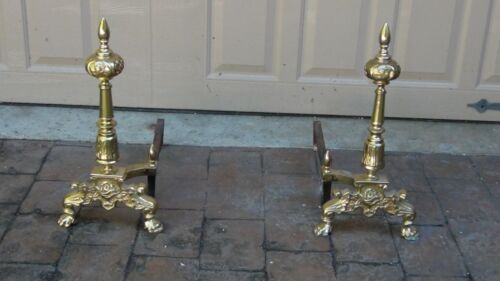 PAIR ANTIQUE 19c FRENCH GILT ORNATE BRASS URN TOP FIREPLACE ANDIRONS
