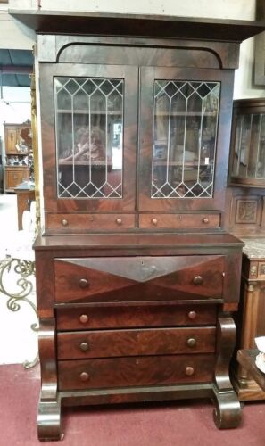 Antique American Empire Secretary Bookcase w Leaded Glass Pullout Desk 1820's