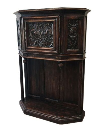 French Antique Gothic Vestry Cabinet Server Antique Furniture