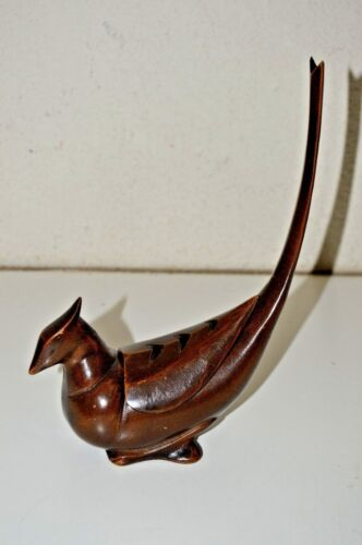 Vintage Mid Century Pheasant Incense Burner Cast Iron Bronze Tone JAPAN Rare NM