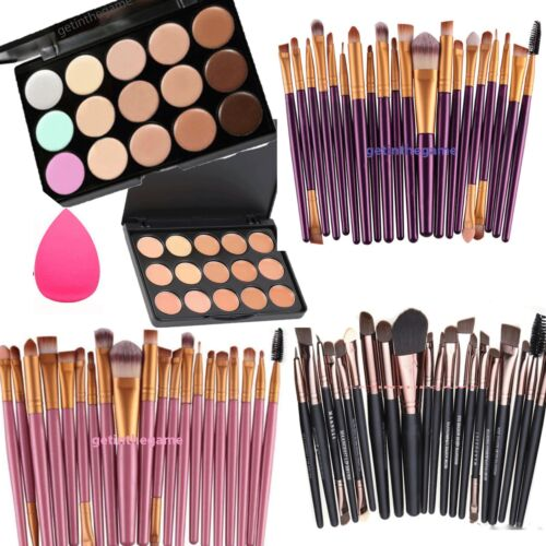 15 Colors Contour Concealer Palette Face Cream Makeup + OR SPONGE or 20 pc BRUSH
