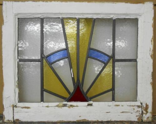 """OLD ENGLISH LEADED STAINED GLASS WINDOW Golden Rays 21"""" x 16.75"""""""