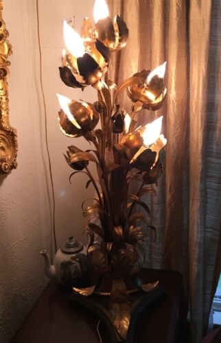 MCM HOLLYWOOD REGENCY GILT TOLE LOTUS TULIP  TABLE LAMP EXCELLENT CONDITION