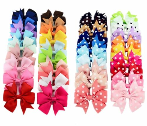 "20/40Pcs 3"" Baby Girls Grosgrain Ribbon Boutique Hair Bows For Teens Toddlers"