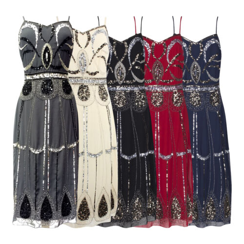 CHARLESTON FLAPPER GATSBY 1920 STRAPPY SEQUIN CALF LENGTH COCKTAIL DRESS NEW