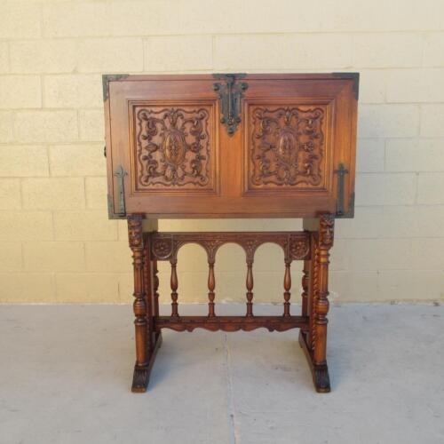 Spanish Antique Varqueno Writing Desk with Iron & Leather Accents