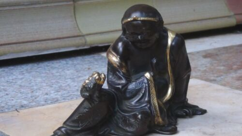 ANTIQUE 19c CHINESE GILT BRONZE STATUE OF HAPPY BUDDHA W/3 LEGGED MONEY TOAD