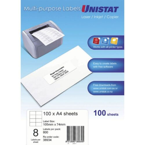 A4 White STICKY Labels 100 Sheets of 20 Sheets 8 Labels Per Sheet 50x142mm