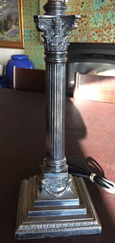 Exquisite Antique English Silver Plate Corinthian Column Lamp