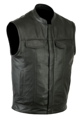 SOA men's Anarchy high quality soft Leather Vest Outlaws Motorcycle Biker Club