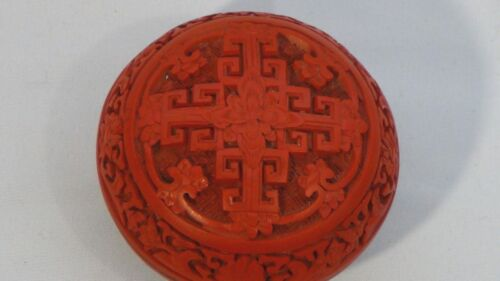 ANTIQUE CHINESE CARVED WOOD RED CINNABAR BOX,RED LACQUERED FLORAL RELIEF PATTERN