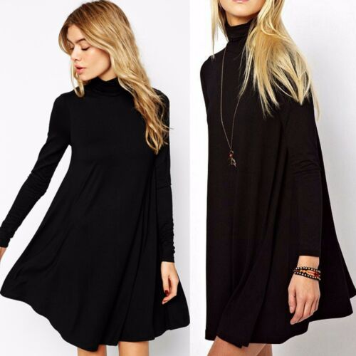 Turtleneck Swing Dress Long Sleeve Casual Ladies Dress or Tunic SOLID BLACK S-L