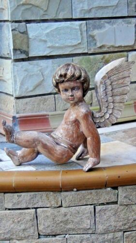 ANTIQUE ITALIAN MAHOGANY WOOD CARVED LARGE PAINTED ANGEL,CHERUB STATUE