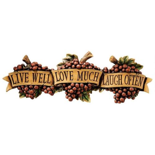 Live Well Love Much Laugh Often Tuscan Grape Laden Scroll Kitchen Wall Plaque