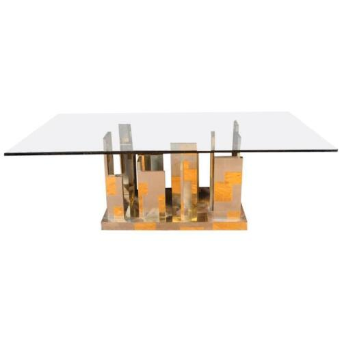 Large Midcentury Paul Evans Cityscape Brass Patchwork Table