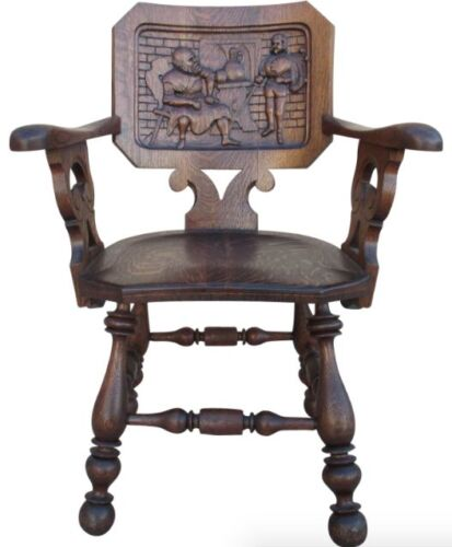 French Antique Pub Armchair Carved Antique Chair