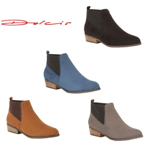Ladies Dolcis Janet Chelsea Ankle Boots Low Heel Faux Suede Shoes