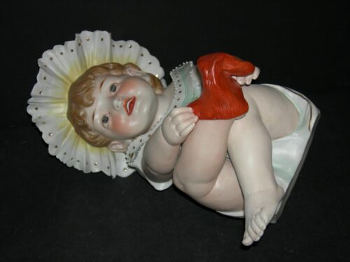 """PIANO BABY - CONTA & BOEHME - FIGURINE - PUTTING A RED SOCK ON!! - LARGE 11"""" -"""