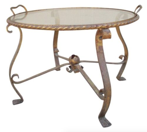 French Antique Iron and Glass Accent Tray Table