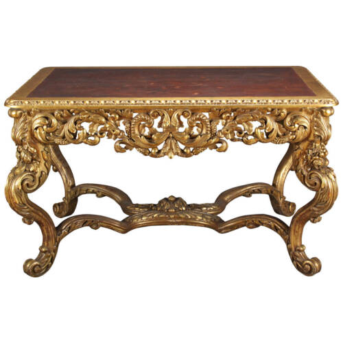 A Large Italian Carved Gilt Wood Rococo Style Rectangular Center Table