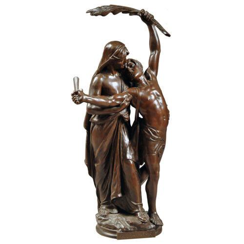 "French Antique Patinated Bronze Sculpture of  ""Gloria Patria"" by Eugene Marioton"