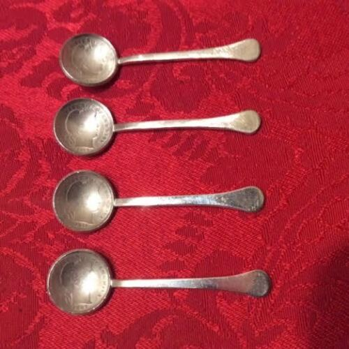 RARE Coin Silver Individual Salt Spoons w/ United States Coin - Barber Dimes