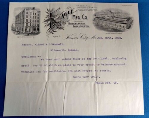 Antique Vintage EAGLE oil fertilizer agriculture letter factory Kansas City