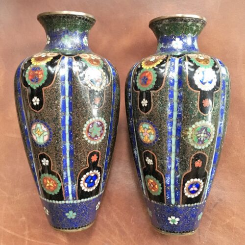 Superb Pair Japanese or Chinese Cloisonne Vases, c 1880