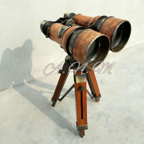 Binoculars with wooden Tripod Leather Covered Maritime Nauticals