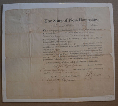 Samuel Wilson Uncle Sam? Military Commission Signed John Gilman NH State Seal