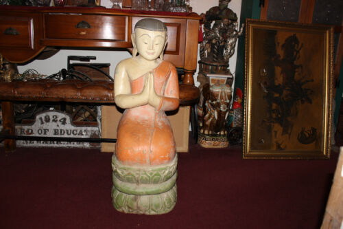 Antique Chinese Buddhist Praying Smiling Buddha-HUGE Wood Carving-Spiritual