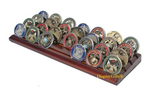 4-Row Challenge Coin Display Stand Rack, Solid Wood, Walnut Finish Challenge Coins - 74710