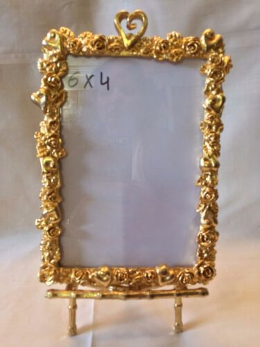 Vintage Heart and Roses Gold Metal Frame 4 X 6 with Gold Bamboo Frame Holder