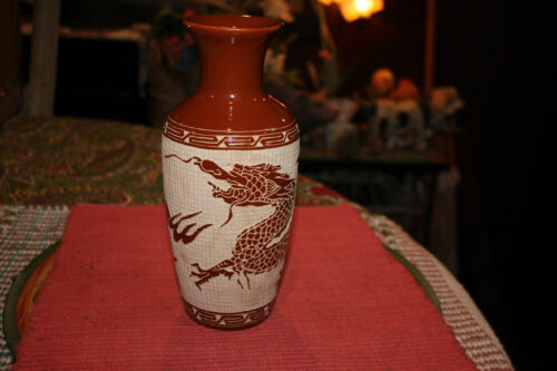 Japanese Chinese Dragon Vase W/Raised Dragon Relief-Raised Tile Feel & Look