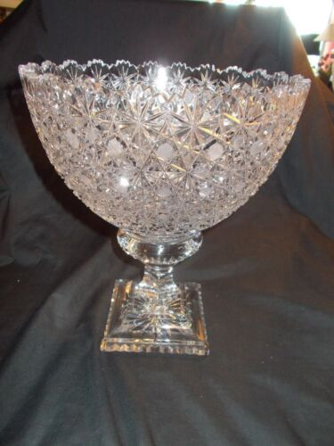 Vintage Stunning Brilliant Cut Glass Large Compote Punch Bowl