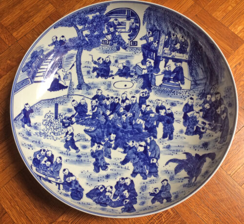 """Chinese blue and white charger, 16"""" diameter,many kids. Qian-Long mark"""