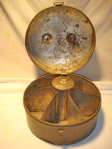 Tin Spice Box – Unusual, Round, c. 1860