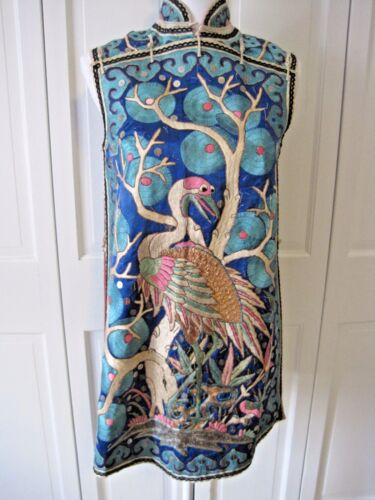 Antique Chinese Embroidered Robe Vest Stork Flamingo Crane China