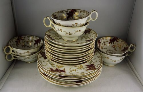 22 Pcs. Hanley Staffordshire China - Red Floral & Gold - Hand Painted