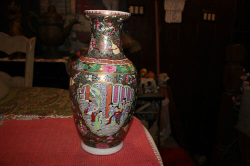 Chinese High Quality Famille Rose Vase Marked Bottom Painted Women