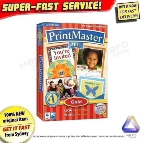 Print Master Gold NEW! Desktop publisher printing PC software Windows 7 XP Vista
