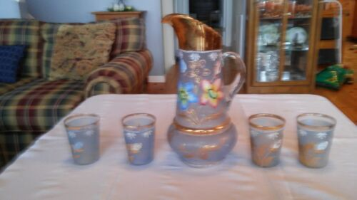 Antique Pitcher with four Tumblers Fenton/Northwood Cherries and Flowers