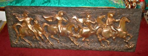 Vintage Finesse Originals Mid Century Wall Hanging-Roman Soldiers Chariots Horse