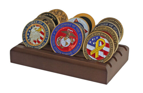 Challenge Coin Display Stand Rack, Solid Wood, Walnut Finish CN-6Challenge Coins - 74710