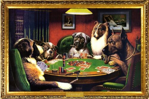 DOGS PLAYING POKER - BOLD BLUFF ART POSTER 24x36 - FUNNY 39565