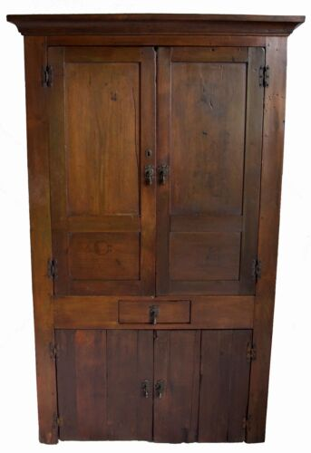 19c. Primitave  Pine Corner Cupboard w/ Four Doors and a Drawer