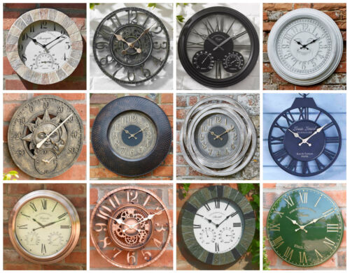 Large Classic Round Face Indoor/Outdoor Garden Wall Clock Roman Numeral Sundial